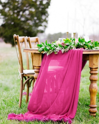 Rose Red 10FT Chiffon Table Runner 10 Pack Table Covers Rustic Wedding Arch Chair Decorations