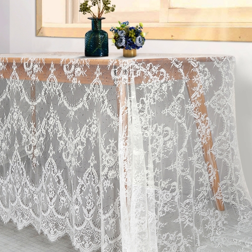 Lace Table Cloth 60x120 White Sheer Table Linen for Wedding Vintage Outdoor Embroidered Table Decortaion