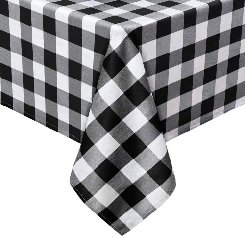 Black and White Cotton Tablecloth 56x120 Inch Check Table Linen for Christmas Party