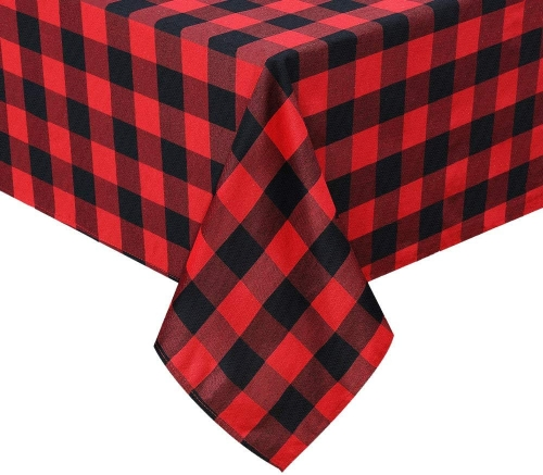 Black and Red Cotton Tablecloth 56x120 Inch Check Table Linen for Christmas Party