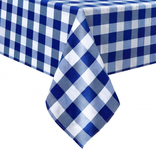 White and Blue Cotton Tablecloth 56x120 Inch Check Table Linen for Christmas Party