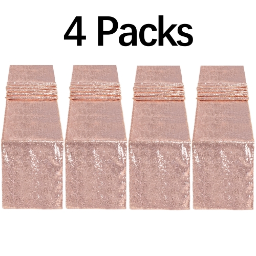 4 Pack 12x72 Inch Wedding Outdoor Sequin Table Runner Rose Gold