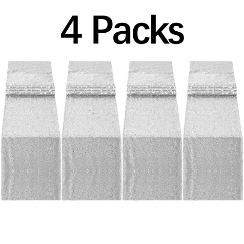 4 Pack 12x72 Inch Autumn Sequin Table Runner Silver