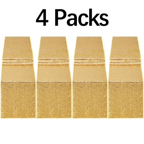 4 Pack 12x72 Inch Wedding Sequin Table Runner Gold