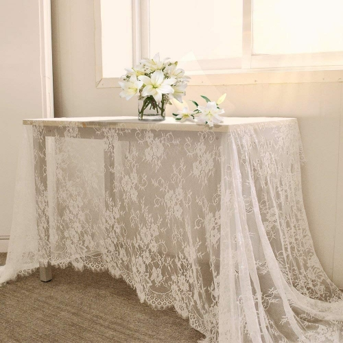 5 Pack 60x120 Inch Lace Table Cloth White Table Linen for Wedding