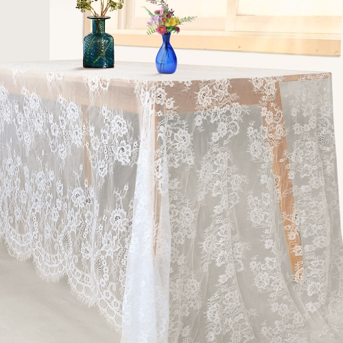 Lace Table Cloth 60x120 White Sheer Table Linen for Wedding Vintage Embroidered Table Decor