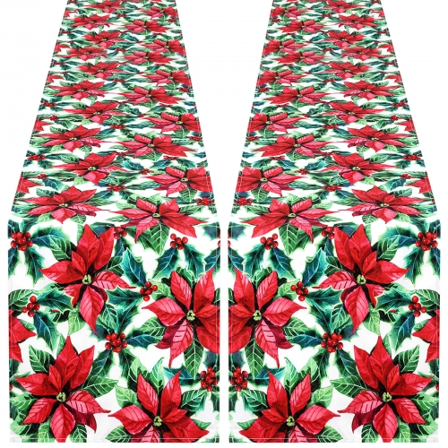 2 Pack 13x84 Waterproof Table Runner Red Flower for CHRISTMAS