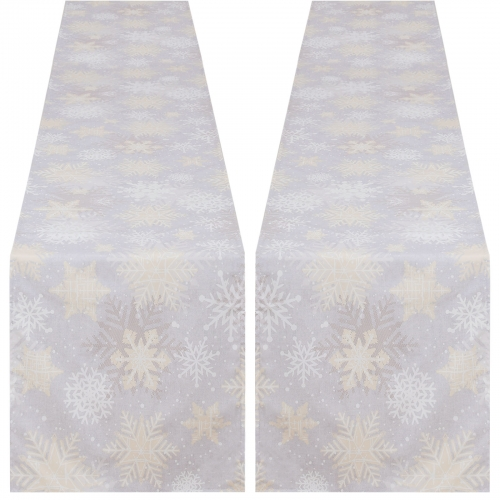 2 Pack 13x84 Waterproof Table Runner Snow White for CHRISTMAS
