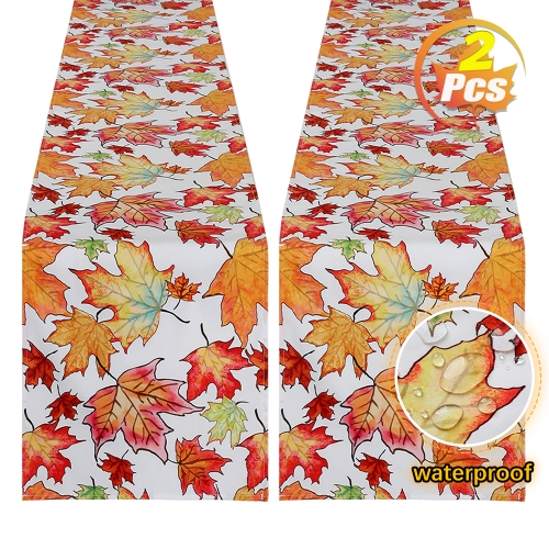 2 Pack 13x84 Waterproof Table Runner Autumn Fall Leaves for Thanksgiving