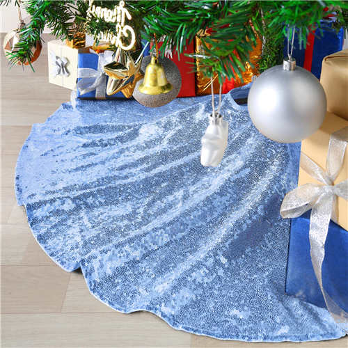 Baby Blue 48 inch Tree Skirt Sequin Fabric Tree Mat for Rustic Xmas Holiday Baby Shower