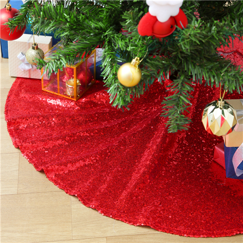Red Christmas Tree Skirt Sparkly Sequin Xmas Decorations for Home Holiday Party 48Inch Ornaments