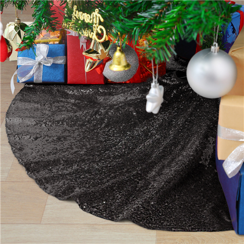 Black Christmas Tree Skirt 48 Inch Sequin Tree Mat for Commercial Holiday Halloween Party Christmas Decorative