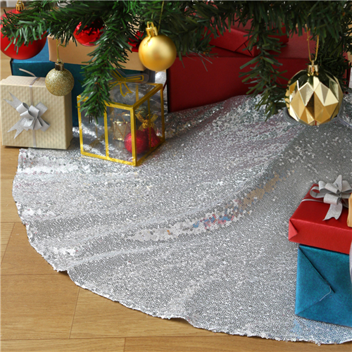Christmas Tree Skirt Silver 48 Inch Shimmer Sequin Fabric for Christmas Decorations Holiday Xmas Ornaments