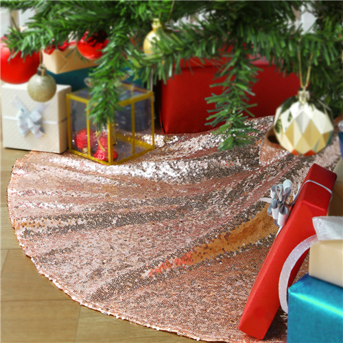 Tree Skirt Rose Gold Christmas Decorations for 48Inch Sequin Fabric Decorative Christmas Tree Skirt Large Mats Ornaments