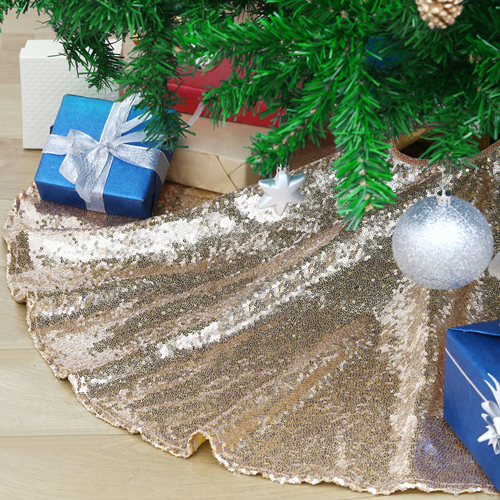 Champagne Gold Glittery Tree Skirt Christmas Sequin 48 inch Large Mat for Christmas Party Theme Decoration