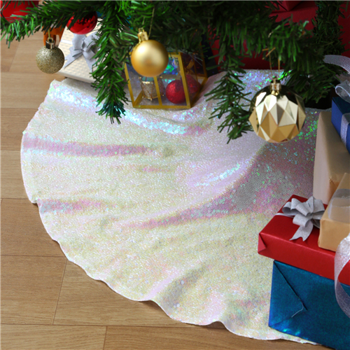Christmas Decorations Large Iridescent White Tree Skirt Mats Decorations for Holiday Party Decorations 48Inch