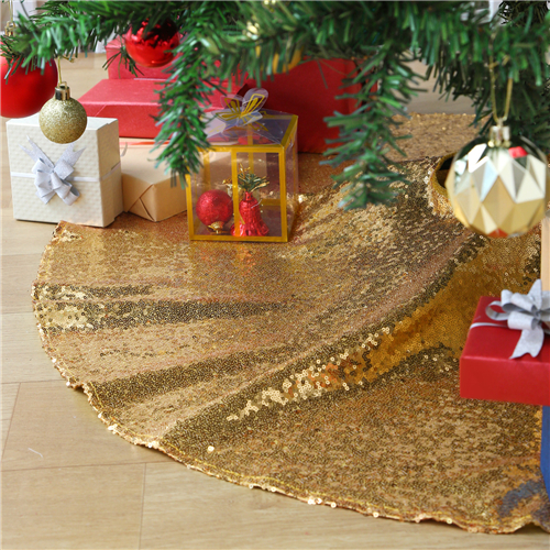 Christmas Tree Skirt Sequin Fabric Tree Mat for Baby Shower Home Decor 48inch