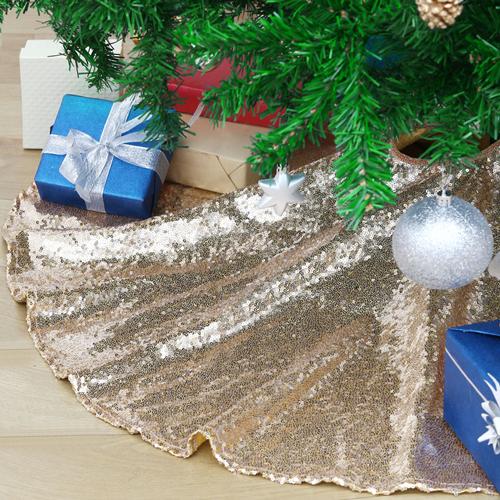 Sequin Christmas Tree Skirt 36 Inch Glitter Xmas Mats for Christmas Decor Luxury Shimmer Tree Xmas Ornaments