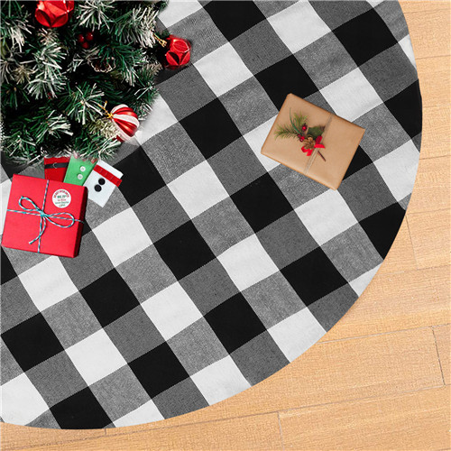 Holiday Party Cotton Tree Skirt 24 Inch Buffalo Plaid Tree Skirt Double Layers Thick Tree Skirt for Christmas Tree
