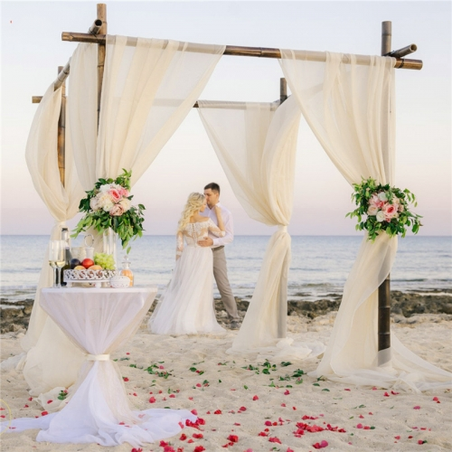 Ivory Curtains Chiffon Backdrops 2 Pieces 4.9ftx10ft Sheer Photography Backdrop for Wedding Romantic Ceremony Party Arch Backdrop Decorations