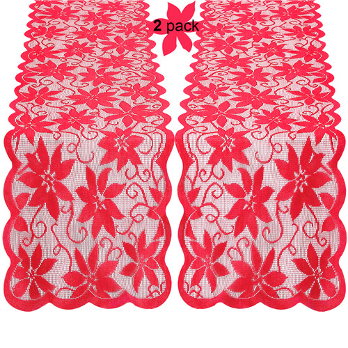 Christmas 2 Pieces 14x72 inch Lace Table Runner Embroided Festival Table Linen with Red Leaves Holiday Decoration for Parties Gathering