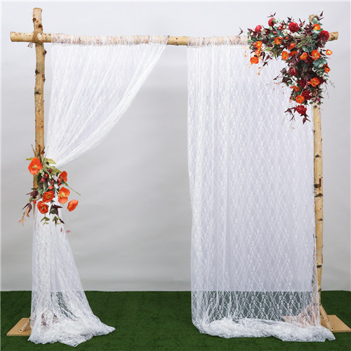 Rustic Wedding Lace Backdrop 2 Pieces 5ftx10ft Christmas Backdrop Vintage Lace Drapes for Arch Outdoor Party Photography Decoration