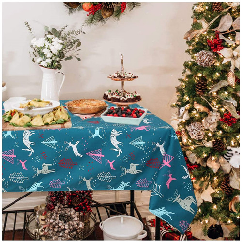 Rectangle Christmas Table Cloth Elk Printed Xmas Tablecloth Water Resistance Tablecloth Decorative Fabric Table Cover Indoor Winter Green