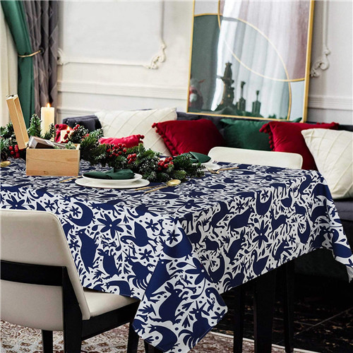 Rectangle Printed Tablecloths Christmas Navy White Tablecloths Waterproof Tablecloths New Year Dinner Party Decoration