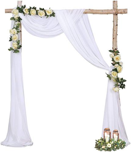 Wedding Arch Drape Fabric 6 Yards Sheer Backdrop Curtain 2 Panels Chiffon Fabric Drapery
