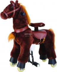 Brown Hair Walking Animal plush ride on horse toy for playground