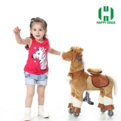 Brown Pony with White Leg Walking Animal plush ride on horse toy for playground