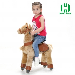 Light Brown Hair Walking Animal plush Mechanical ride on horse toy for playground