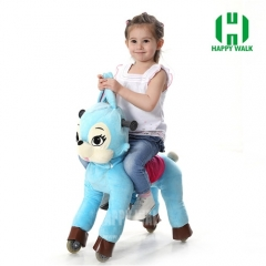 Blue Bunny with Black Hair Walking Animal plush ride on horse toy for playground