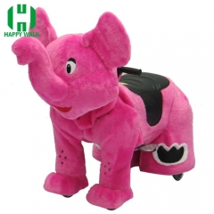 Pink Elephant Wild Animal Electric Walking Animal Ride for Kids Plush Animal Ride On Toy for Playground