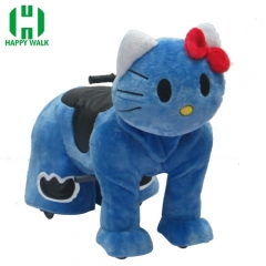 Blue Kitty Cat Electric Walking Animal Ride for Kids Plush Animal Ride On Toy for Playground