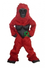 Red Gorilla Wild Animal Character Custom Adult Walking Fur Human Animal Party Plush Movie Character Cartoon Mascot Costume for Adult