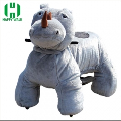 Rhinoceros Electric Walking Animal Ride for Kids Plush Animal Ride On Toy for Playground