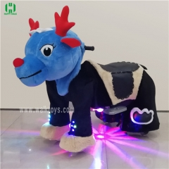 Black dragon dinosaur spotlight Plush Electric Animal Riding Scooters