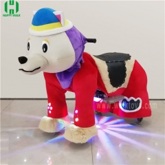 Red Dog spotlight Plush Electric Animal Riding Scooters
