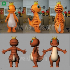 Custom Orange Dinosaur Mascot Costume