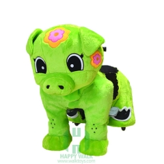Green Piggy Wild Animal Electric Walking Animal Ride for Kids Plush Animal Ride On Toy for Playground
