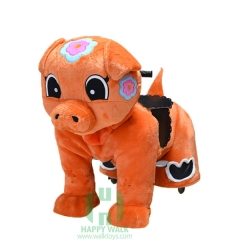 Orange Piggy Wild Animal Electric Walking Animal Ride for Kids Plush Animal Ride On Toy for Playground
