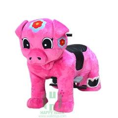 Pink Piggy Wild Animal Electric Walking Animal Ride for Kids Plush Animal Ride On Toy for Playground