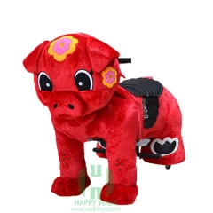 Red Piggy Wild Animal Electric Walking Animal Ride for Kids Plush Animal Ride On Toy for Playground