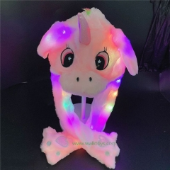 Unicorn Cute Plush Bunny Headband Cap LED Glowing Plush Moving Jumping Ear Cap