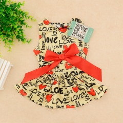 CuteBone Stylish Dog Dress with Elegant Ribbon Doggie Sundress Pet Clothes Dog's Sweet Dresses Skirt Dog Apparel DR03