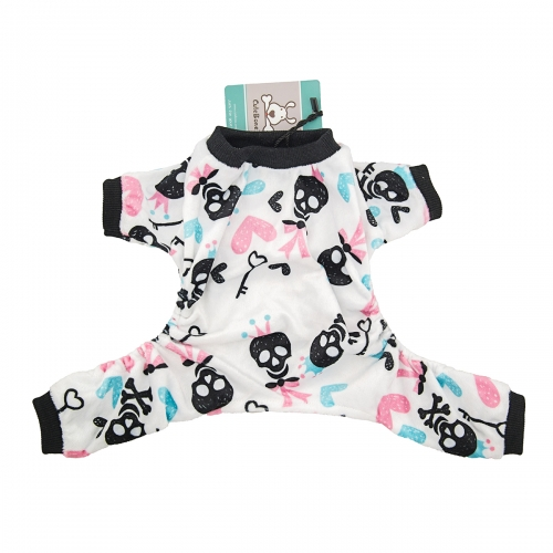 Skeleton dog pajamas -White