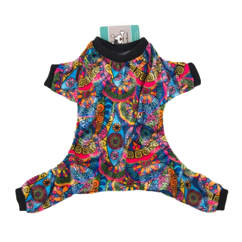 CuteBone Dog Pajamas Kaleidoscope Dog Apparel Dog Jumpsuit Pet Clothes Pajamas P41