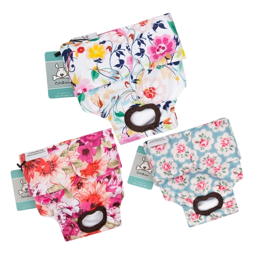 CuteBone 3 Pack Reusable Dog Diapers for Female ,Washable Dog Pants