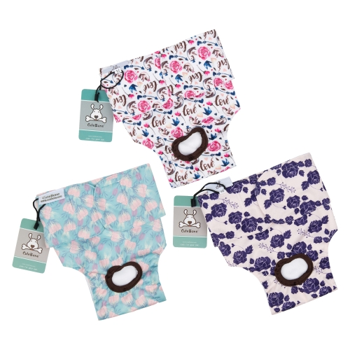 CuteBone 3 Pack Reusable Dog Diapers for Female ,Washable Dog Pants D15